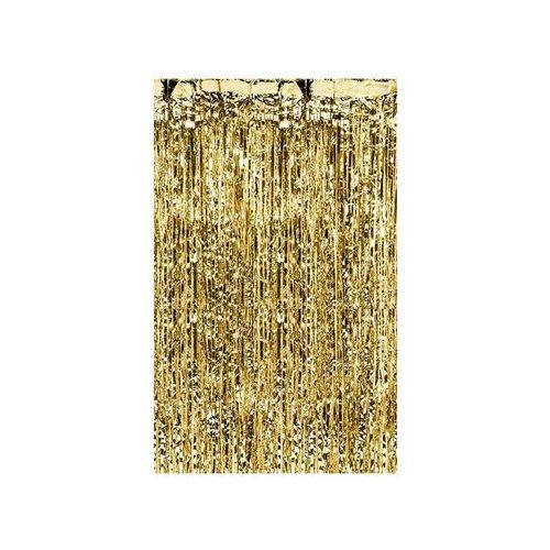 Zasłony, Kurtyna - zasłona na drzwi metaliczna złota - 2,4 m x 91 cm