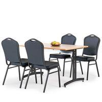 Meble do restauracji i kawiarni, Zestaw mebli do stołówki, stół 1200x800 mm, buk + 4 krzesła czarna eko-skóra/czarny