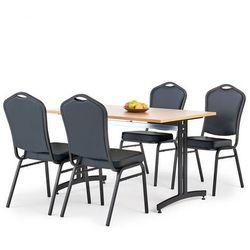 Zestaw mebli do stołówki, stół 1200x800 mm, buk + 4 krzesła czarna eko-skóra/czarny