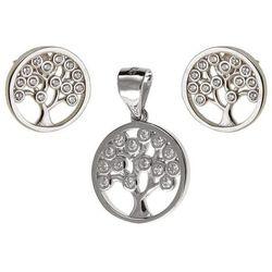 Delikatny rodowany srebrny komplet drzewo życia białe cyrkonie srebro 925 Z0667