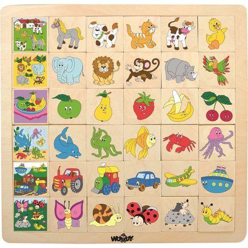 Zabawki z drewna, Woody Układanka dopasuj obrazki 6x6
