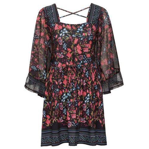 Suknie i sukienki, Sukienka bonprix czarny w kwiaty
