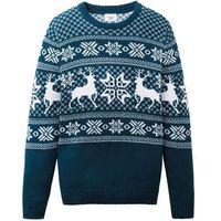 Krótkie spodenki dziecięce, Sweter chłopięcy dzianinowy w norweski wzór bonprix ciemnoniebiesko-biały