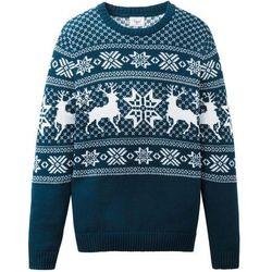 Sweter chłopięcy dzianinowy w norweski wzór bonprix ciemnoniebiesko-biały