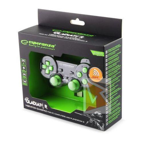 """Gamepady, Gamepad bezprzewodowy 2.4GHZ PS3/PC USB Esperanza """"Gladiator"""" czarno/zielony"""