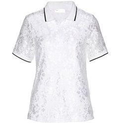Shirt polo z koronki bonprix biało-czarny