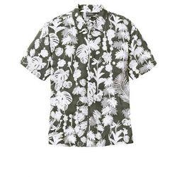 Koszula z krótkim rękawem w hawajski deseń, Regular Fit bonprix ciemnooliwkowy z nadrukiem