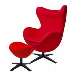 Fotel EGG SZEROKI BLACK z podnóżkiem czerwony.1- wełna, podstawa czarna