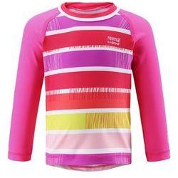 Koszulka bluzka Reima kąpielowa Borneo UV długi rękaw różowa (upreme pink) w paski 59 (-46%)