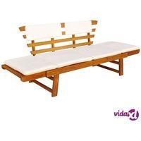 Ławki ogrodowe, vidaXL Ławka ogrodowa z poduszkami, 2w1, 190 cm, lite drewno akacjowe