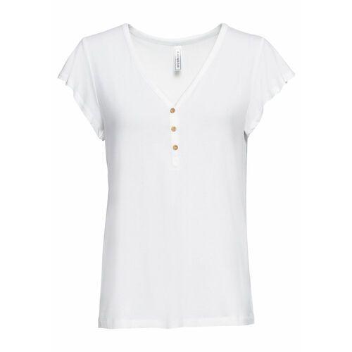 Bluzki, Shirt z przędzy mieszankowej, krótki rękaw bonprix jasnoszary melanż z nadrukiem