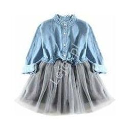 Modna sukienka dziecięca z szarą tiulową spódnicą tutu i jeansową górą