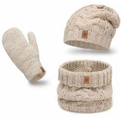 Ciepły komplet PaMaMi, czapka, komin i rękawiczki - Beżowy