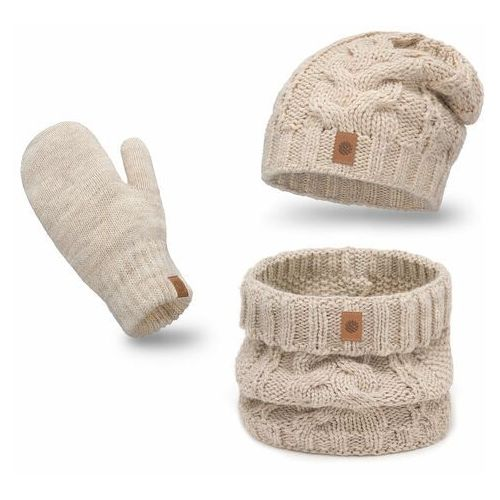 Komplety galanterii, Ciepły komplet PaMaMi, czapka, komin i rękawiczki - Beżowy