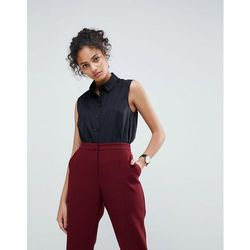 ASOS DESIGN sleeveless shirt in stretch cotton - Black