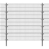 Przęsła i elementy ogrodzenia, Panel ogrodzeniowy z słupkami, 6 x 2 m, antracyt