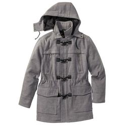 Płaszcz budrysówka z domieszką wełny bonprix szary