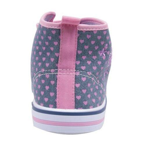 Buty sportowe dla dzieci, Trampki w serduszka na rzepy wysokie 28