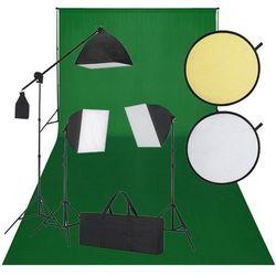 vidaXL Zestaw do studio: zielone tło, 3 lampy światła ciągłego i blenda Darmowa wysyłka i zwroty