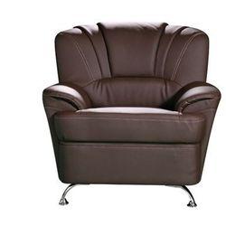 Fotel z materiału skóropodobnego FOCUS - Czekoladowy
