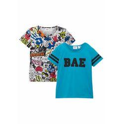 T-shirt dziewczęcy (2 szt.) bonprix ciemnoturkusowo-biały z nadrukiem
