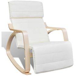 vidaXL Fotel bujany z giętą ramą, materiałowy, regulowany, kremowy Darmowa wysyłka i zwroty