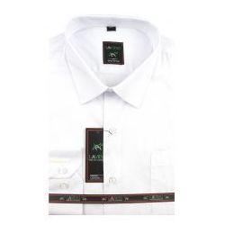 Koszula Męska Laviino gładka biała na długi rękaw D917