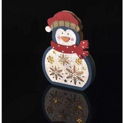 Dekoracje- 5 LED drewniany pingwin 3D 30 cm, 2x AAA WW,timer ZY2332 --WYSYŁKA 24H--
