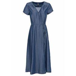 Sukienka z dżerseju z rękawami z falban bonprix ciemnoniebieski