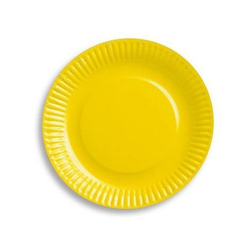 Naczynia jednorazowe, Talerzyki papierowe żółte - 18 cm - 6 szt.