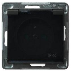 Gniazdo bryzgoszczelne z przesłonami IP-44 Czarny metalik, klapka dymna - GPH-1RZP/m/33/d Sonata