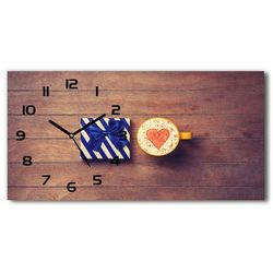 Zegar ścienny szklany cichy Kawa i prezent