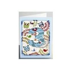 Karnet pm793 wycinany + koperta urodziny 3 sowy