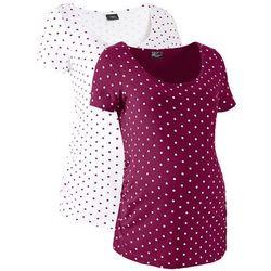 Shirt ciążowy z krótkim rękawem (2 szt.), bawełna organiczna bonprix jeżynowo-biały w kropki