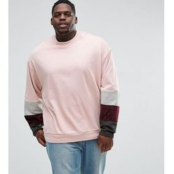 ASOS PLUS Oversized Sweatshirt With Velour Colour Blocking Sleeve Panels - Pink