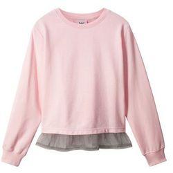 Bluza z koszulową wstawką bonprix pastelowy jasnoróżowy + szary