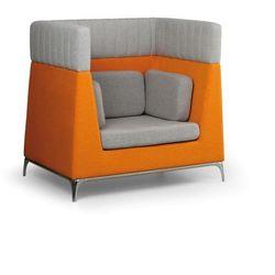 Fotel, 1 miejscowy, szary/pomarańczowy