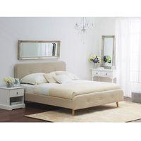 Łóżka, Łóżko beżowe - 140x200 cm - łóżko tapicerowane - RENNES