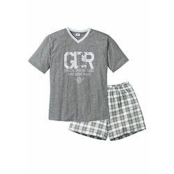 Piżama z krótkimi spodenkami bonprix szary melanż-biały