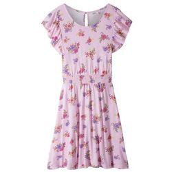 Lekka sukienka letnia bonprix pudrowy jasnoróżowy z nadrukiem