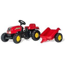 Rolly toys kid-x czerwony traktor na pedały z przyczepą