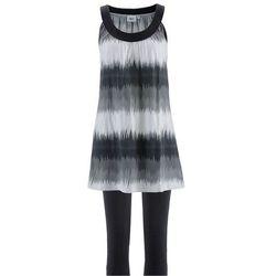 Sukienka + legginsy rybaczki (2 części) bonprix czarno-biały z nadrukiem + czarny