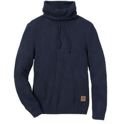 Sweter z golfem Regular Fit bonprix ciemnoniebieski