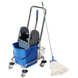 Wózek do mycia podłóg jednowiaderkowy z koszykiem prasą i mopem sznurkowym Wózek porządkowy z mopem