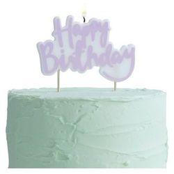 Świeczka na pikerach Happy Birthday liliowa - 1 szt.