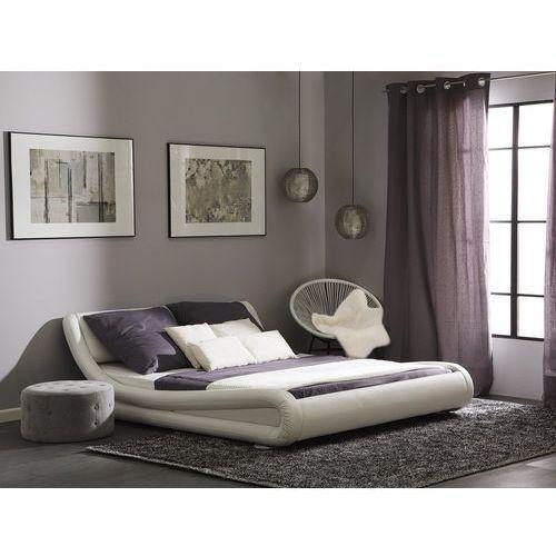 Łóżka, Łóżko wodne śnieżnobiałe skóra ekologiczna 180 x 200 cm AVIGNON