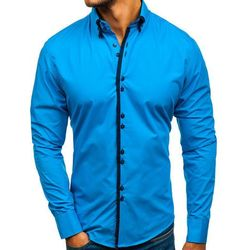 Koszula męska elegancka z długim rękawem niebieski Bolf 1721