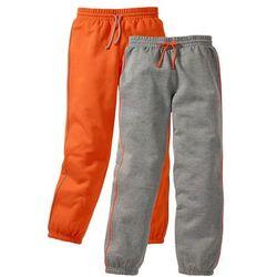 Spodnie dresowe (2 pary) bonprix szary melanż + ciemnopomarańczowy