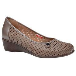 Półbuty AXEL Comfort 1516 Beżowe buty na haluksy na koturnie
