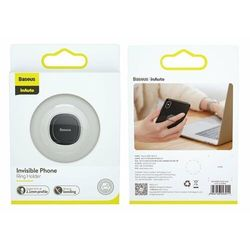 Baseus Invisible Phone Ring Holder   Uchwyt Ring do telefonu podstawka adapter magnetyczny 3w1 - Czarny